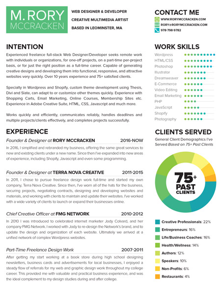 Resume of M. Rory McCracken, Web Designer and Developer
